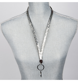 Jacqueline Kent Jewelry Crystal Bling Lanyard Silver