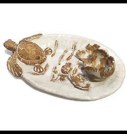 Shayne Greco Ceramic Art Pottery Sea Turtle Hatching Egg Platter 12.5L