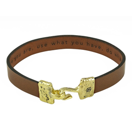 Waxing Poetic® Jewelry Close Counsel Mens Bracelet LG -Brass and Leather