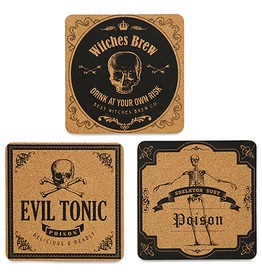 Halloween Party Trivets Set of 3 Assorted 7.5 Inches SQ