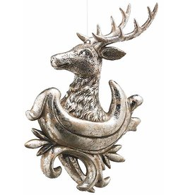 K&K Interiors Christmas Silver Reindeer Head Ornament 10 Inch