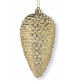 K&K Interiors Gold Pinecone Ornament 6.5x3.5 inch