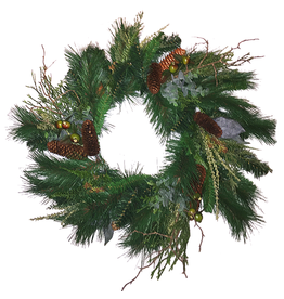 Darice Christmas Wreath 24 inch Mixed Greens w Pine Cones