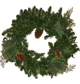 Darice Christmas Wreath 24 inch Pre-Lit 35 LED Light-Battery Operated w Timer