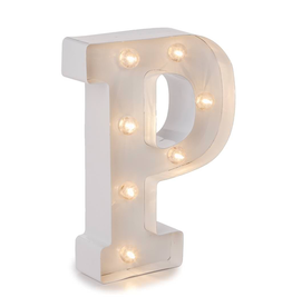 Darice LED Light Up Marquee Letter W 915-750 Galvanized Silver Metal