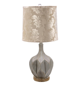 Mark Roberts Home Decor Octagonal Fluted Lamp Jeweled Base 28H