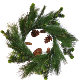 Darice Christmas Wreath 24 inch Mixed Greens Pine w Pine Cones