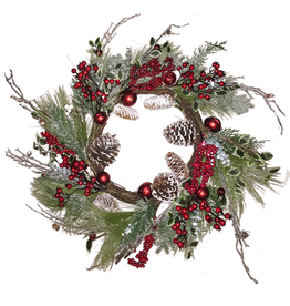Darice Christmas Wreath Mixed Pine W Cones Red Berries 26 inch