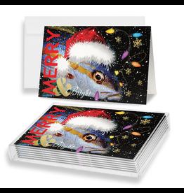 By The Seas-N Greetings Christmas Cards 10pk Merry n Bright Santa Fish