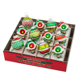 Christopher Radko Shiny Brite Holiday Splendor Decorated Rounds And Shapes 12 Count 1.75 Inch