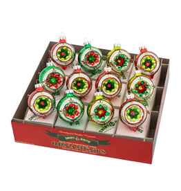 Christopher Radko Shiny Brite Holiday Splendor Decorated Rounds 12 Count 1.75 Inch
