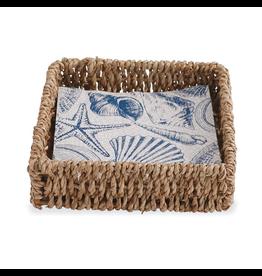 Mud Pie Seashell Napkin Basket Set w 12 Shell Printed Paper Napkins