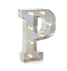 Darice LED Light Up Marquee Letter P 5915-717 Galvanized Silver Metal