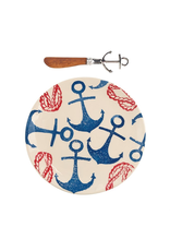 Mud Pie Anchor Hand Stamped Cheese Set w Anchor Spreader