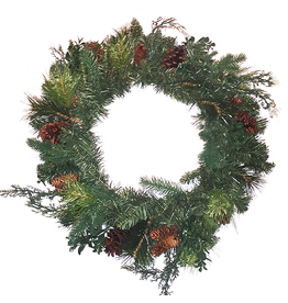 Darice Christmas Wreath 24 inch Pine Mixed with Cypress and PIne  Cones