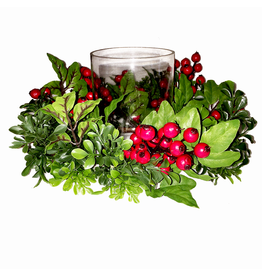 Darice Christmas Candle Holder-Centerpiece in Red Berry Boxwood Wreath