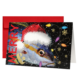 By The Seas-N Greetings Christmas Card Merry and Bright Santa Fish