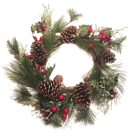 Darice Christmas Wreath Pine Branches Pinecones w Red Berries