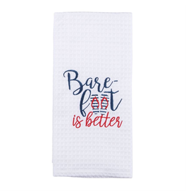 Mud Pie Nautical Waffle Weave Towel w Barefoot is Better