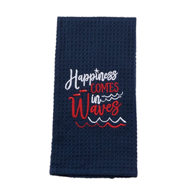 Mud Pie Nautical Waffle Weave Towel w Happiness Comes in Waves