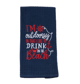 Mud Pie Nautical Waffle Weave Towel w Im Outdoorsy In That I Like to Drink On The Beach