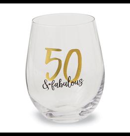Mud Pie 50 and Fabulous Stemless Wine Glass