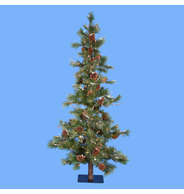 Kurt Adler Rustic Christmas Tree Pre-Lit 7 FT Pine W Cones Slim Tree