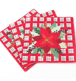Papyrus Christmas Cocktail Beverage Napkins 20pk Poinsettia on Plaid