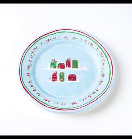 Papyrus Paper Salad-Dessert Plates 8pk Round - Christmas Cottages