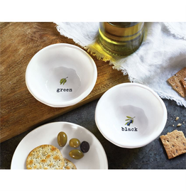 Mud Pie Glazed Terracotta Olive Dip Bow Set for Black and Green Olives