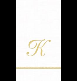 Caspari Monogram Initial K Paper Guest Napkins 15pk