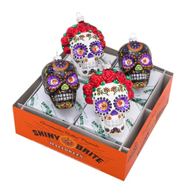 Christopher Radko Shiny Brite Halloween Bride N Groom Skulls Day Of The Dead Ornaments
