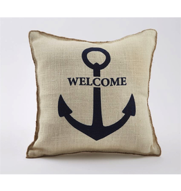 Mud Pie Burlap Pillow w Rope Piping 15x15 4265242W Welcome Anchor Print