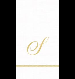 Caspari Monogram Initial S Paper Guest Napkins 15pk