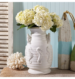 Twos Company Pacifica White Ceramic Seahorse Vase 51483 by Twos Company