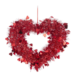 Darice Red Tinsel Hearts Wreath 16x13 Inch Valentines Day Heart Decor