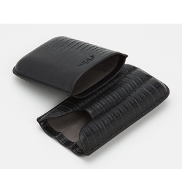 Blake 3 Piece Cigar Case Black Teju Lizard Embossed Leather