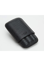 Blake 3 Piece Cigar Case Black Teju Lizard Embossed Leather