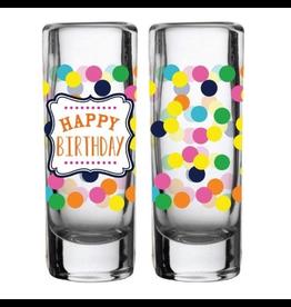 Slant Shot Glasses Set of 2 2oz F139408 Happy Birthday