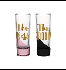 Slant Wedding Shot Glasses 2oz Set of 2 The Boss The Groom