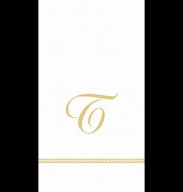 Caspari Monogram Initial T Paper Guest Napkins 15pk