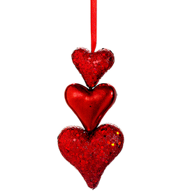 Allstate Floral Triple Teared Red Hearts Glittered Ornament 6 Inch