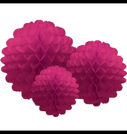 Tissue Honeycomb Flower Pom Pom Set of 3 Magenta