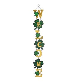 Darice Irish St Patricks Day Welcome Shamrock Hanging Decor 4x26