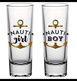 Slant Shot Glasses Set of 2 2oz F165619 Nauti Girl Nauti Boy