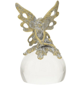 Mark Roberts Stylish Home Decor Fairy Girl Paper Weight Glass w Metal Finial 4.5 inch