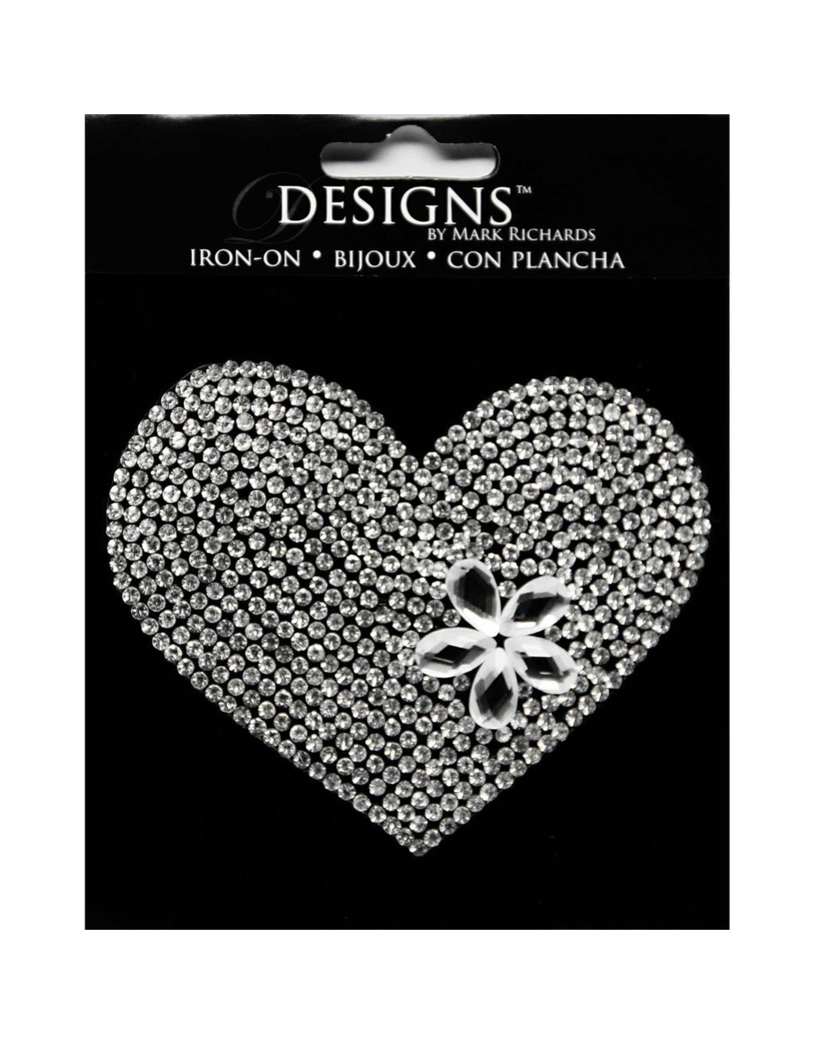 Darice Bling Rhinestone Heart Iron On Applique 3.5 Inch
