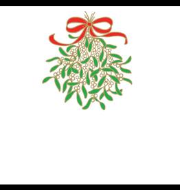 Caspari Christmas Place Cards 8pk Embossed Mistletoe Tent Cards