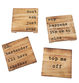 Mud Pie Happy Hour Wood Planked Coasters Set of 4