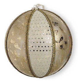 K&K Interiors Christmas Ornament Large Round Silver Gold Ornament 8D